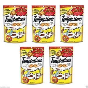 5 Pack of Chicken Flavor Whiskas Temptations Treats for Cats ...