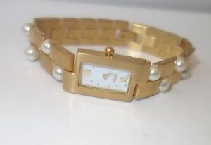 MISAKI-Ladies-swiss-quartz-Watch-gold-stainless-steel-with-Pearls-new