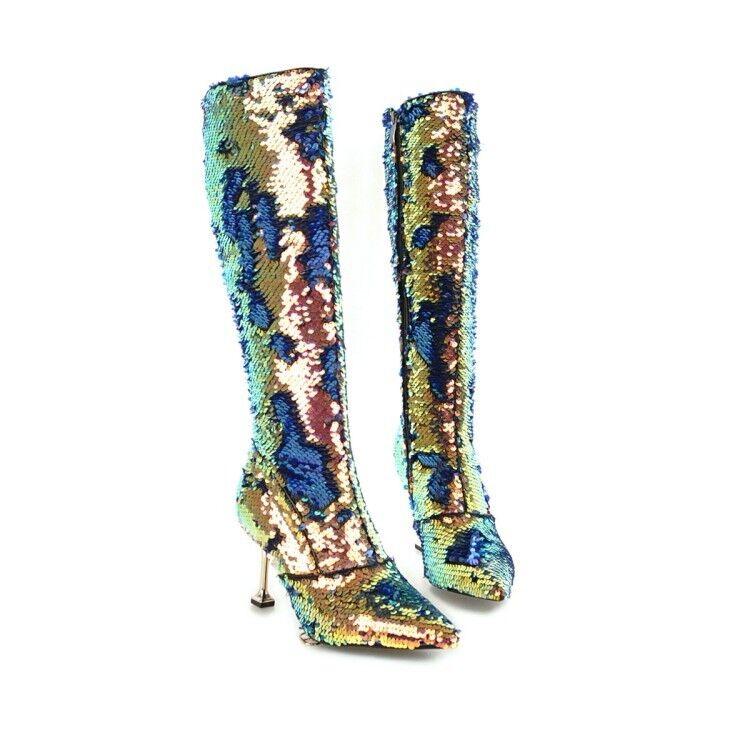 Women Shinning Sequin Cloth Mid-calf Boots Pointed Toe Stiletto Heel Party shoes
