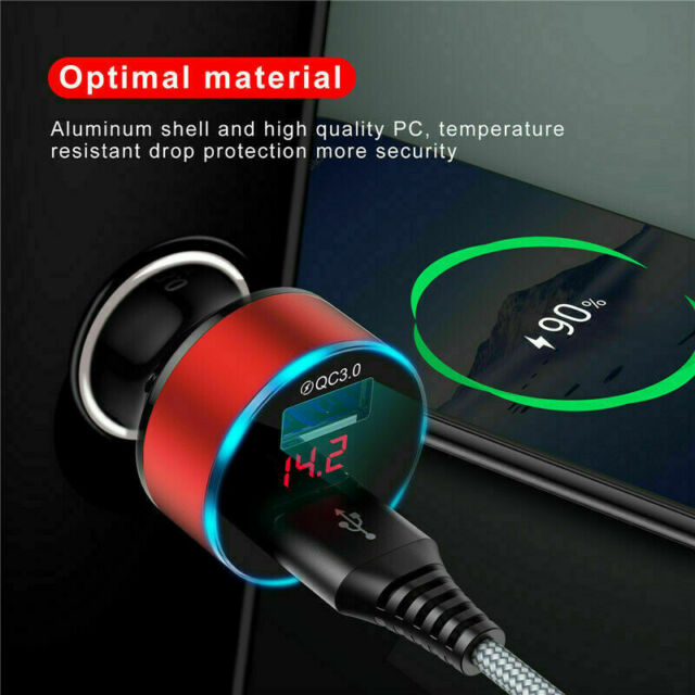 Dual USB Ports 3.1A Car Charger Adapter LCD Display 12-24V Cigarette Socket Red