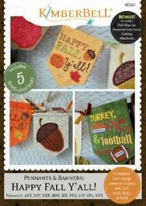 KimberBell-Machine-Embroidery-CD-Pennants-and-Banners-Happy-Fall-Y-039-All-KD561