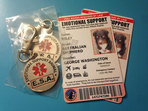 Image of: Dog Breeds Image Is Loading Emotionalsupportdogidwithcopyandesa Ebay Emotional Support Dog Id With Copy And Esa Dog Tags Includes