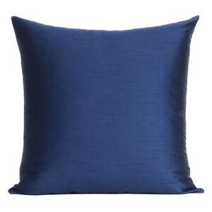 Housse-de-couleur-unie-Canape-Taie-D-039-oreiller-Coussin-Carre-Decoration-Maison-Doux-Bleu-Marine