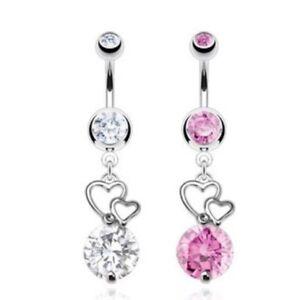 Double CZ Hearts Gem Steel Dangle Navel Belly Button Piercing Rings Body Jewelry