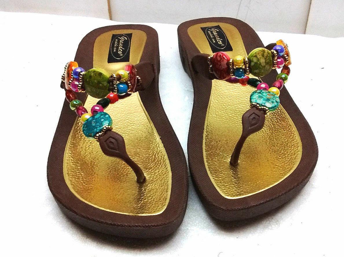 2a9154ca0f6 Grandco Women s Brown Fabric Flop Thong Sandals Slip Ons shoes 8M Flip  Rinestone ntjzcl3233-Women s Sandals
