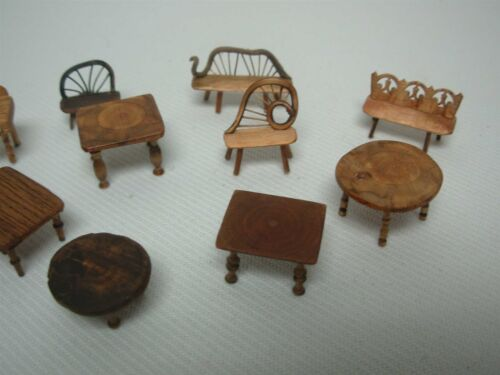 """11 PCS ARTISAN SIGNED """"CP"""" DOLLHOUSE MINIATURES RUSTIC WOOD TABLES BENCHES CHAIR"""
