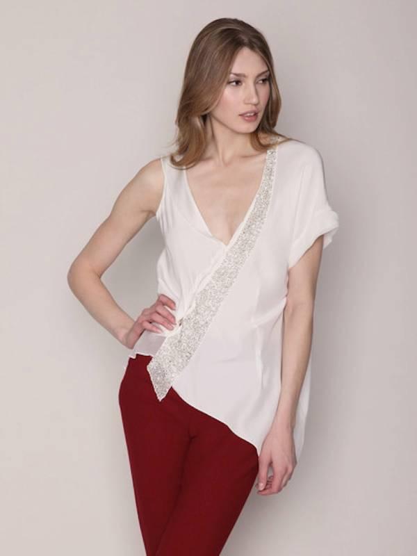 Foley & Corinna Asymmetric Top Embellishment ICE Silk Beaded New Weiß Designer