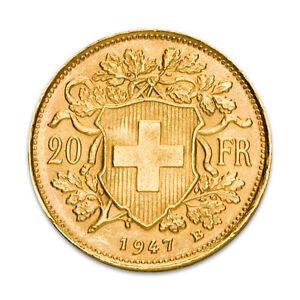 Gold-Vreneli-20-Schweizer-Franken-Schweiz-1897-1949-Verschiedene-Jahrgaenge