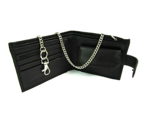 Black Real Leather Chain Wallet Credit Card Holder Coin Pouch Rfid Protection