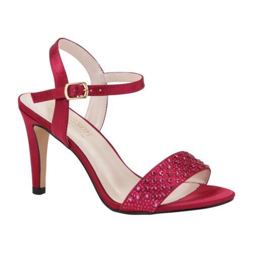 De Blossom Women/'s Hannah Satin Heeled Sandals with Rhinestones on Pink