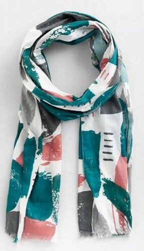 Seasalt Everyday Large Scarf Cornwall Ecru Grey Teal Abstract BNWT Spring NEW