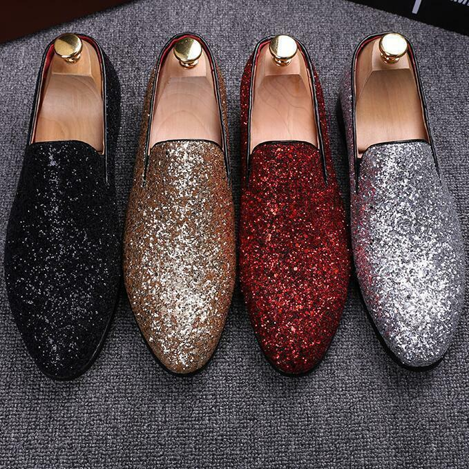 New Men's Sequin Dress Fashion shoes Slip on Loafers Silver Sequin Casual shoes