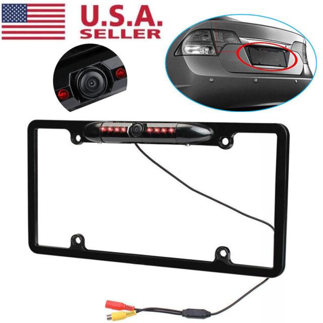 Car Rear View Backup Camera 8 IR Night Vision US License Plate Frame CMOS 12V US