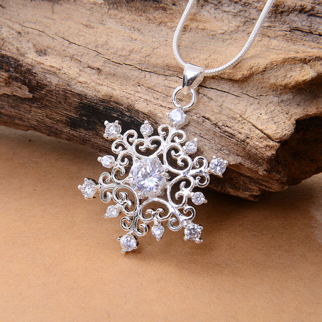 Women Lady's 925 Silver Snowflake Pendant with Crystal Fit Necklace Xmas Gift