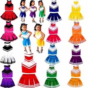 Image is loading Children-Kids-Cheerleader-Dress-Uniform-Costume-Outfit -Halloween-  sc 1 st  eBay : cheerleader costumes for kids  - Germanpascual.Com