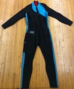 Womens-SAS-Sub-Aquatic-Suits-Aqua-Black-Full-Length-One-Piece-Wet-Suit-Size-M