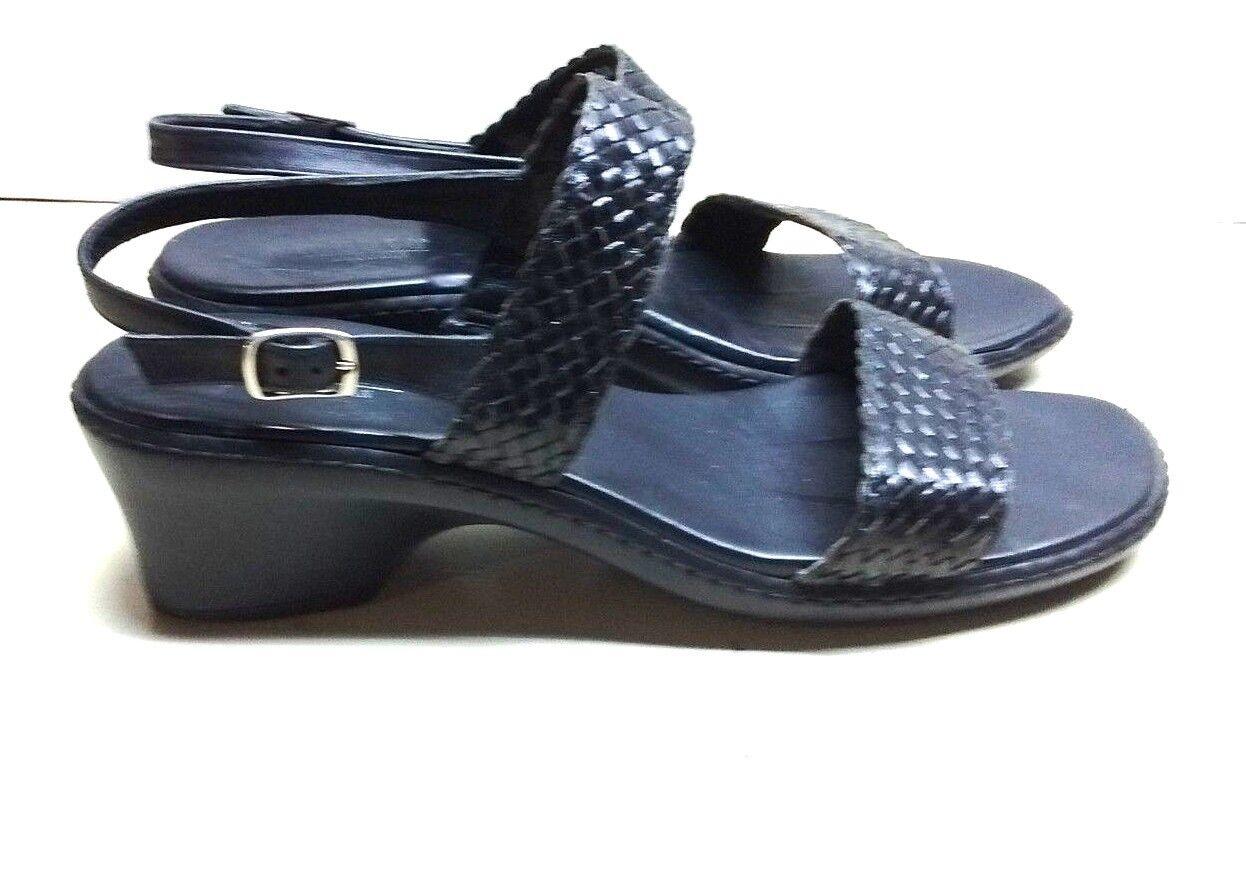 Munro American Women Leather Black Woven Heel Sandals Back Strap Open Shoe 10 SS