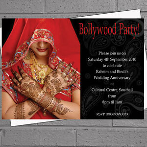 Details About 12 X Bollywood Party Birthday Invitations