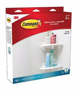 Details about 3M COMMAND CORNER SHELF BATH STORAGE ORGANIZER NO DRILL  STICKY TAPE REMOVABLE