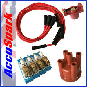 Ford-Pinto-Accuspark-IRIDIUM-Spark-Plugs-Cap-Red-Rotor-Red-leads-Bosch