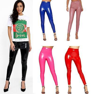 Women Vinyl PVC Legging Ladies High Waisted Wet Look Party Fashion Pant 6-14