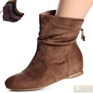 Damen-Keilabsatz-Stiefeletten-Boots-Booties-Hidden-Wedges-Stiefel