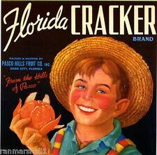 Dade City Florida Cracker Boy Orange Citrus Fruit Crate Label Vintage Art Print