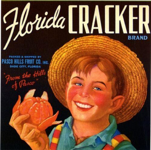 Dade City Florida Cracker Boy Orange Citrus Fruit Crate Label Vintage Art Print