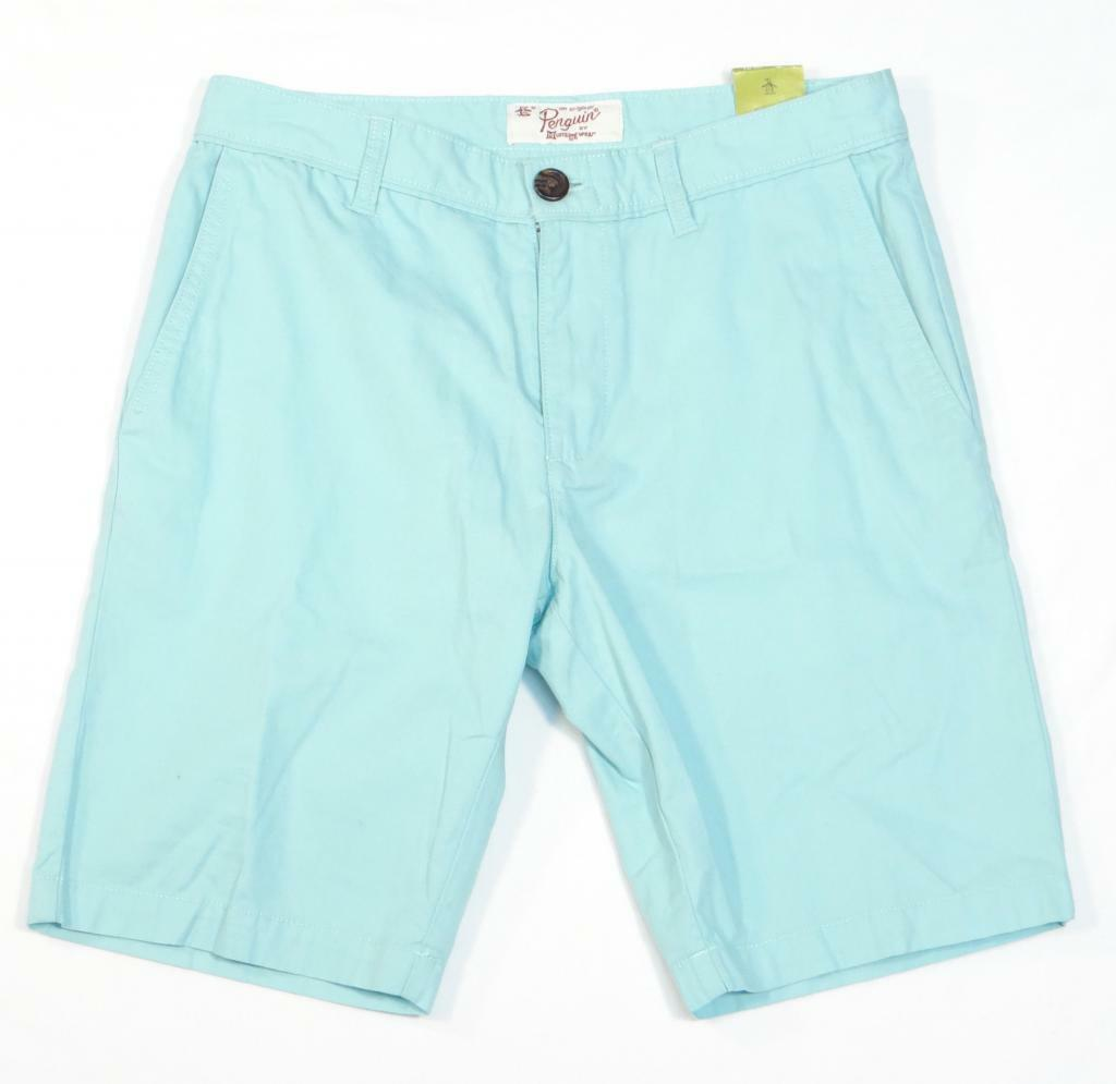 Penguin Wittfield Heritage Fit bluee Flat Front Casual Shorts Mens NWT