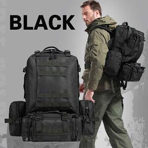 Image is loading Travel-Backpacks-Military-Hiking-Camping-Bag-Black-BackPack -