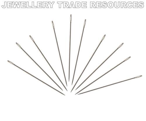 10 X Molduras Agujas Para Encordar /& Rosca Perlas Y Perlas 0,46 mm Talle 10