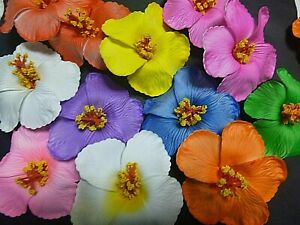 1 Single Hibiscus Flower Alligator Hair Clip Bright Floral Pin Up