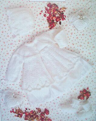 6m 14-18in Baby girl MATINEE COAT BONNET CARDIGAN KNITTING PATTERN 4ply Prem