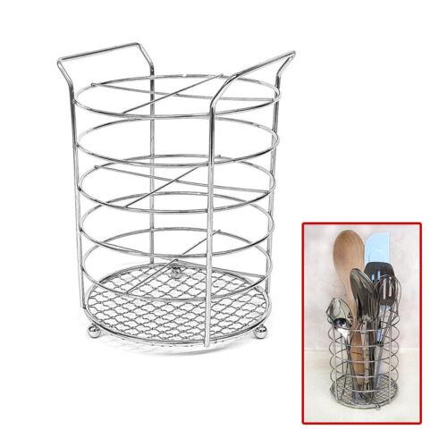 Cutlery Holder Stand Kitchen Drainer Pot Utensil Stainless Steel Rack Round UKDC