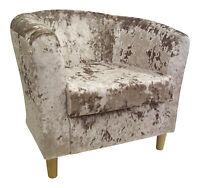 Tub Chair Opal-beige Soft Crushed Velvet Fabric