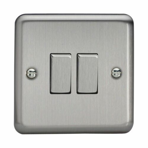 Varilight XS2D Classic Matt Chrome 2 Gang 1 ou 2 Façon Rocker Switch métal Rockers