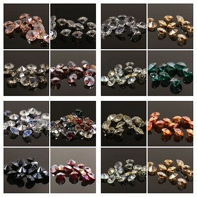 "120pcs Gorgeous 8mm side hole ""Diamond shape"" Crystal beads Mixed colored"