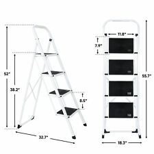 4 Step Ladder Lightweight Folding Step Stool Convenient Handgrip Sturdy Wide