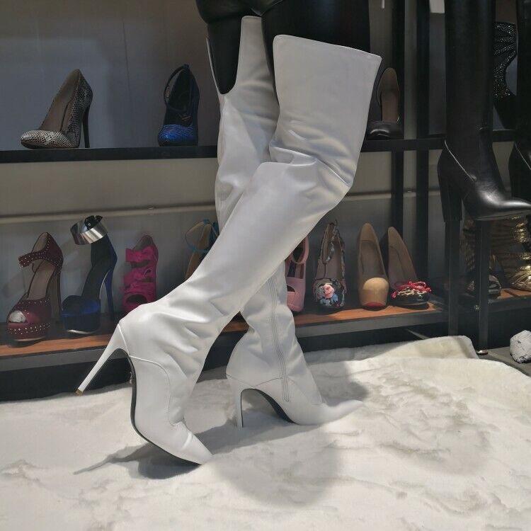 Eleganta kvinnor över Knee stövlar med spetsig spetsig spetsig tå Stövlar Stor storlek 4 -15  blixtnedslag