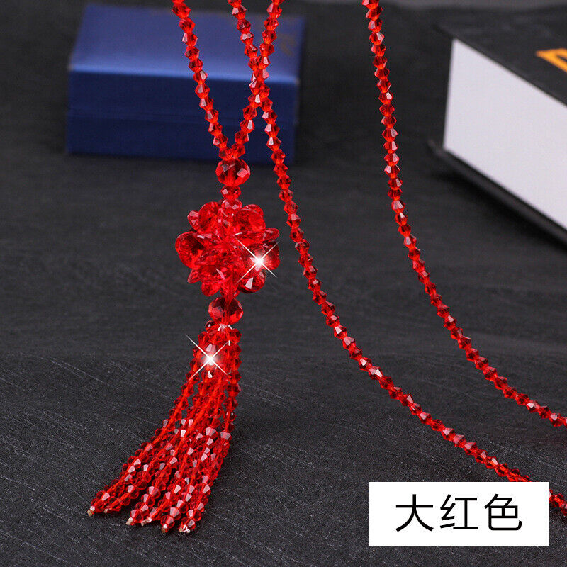 Fashion Tassel Crystal Ballpendant Necklace Lady Long Sweater Chain Jewelry Gift