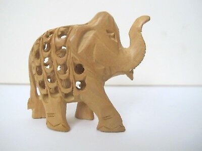 Vintage Asian Wood Carving Elephant with Baby Inside Small 3
