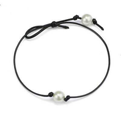 Korean Style White Pearl Pendant Black Leather Choker Cord Necklace Jewelry Gift