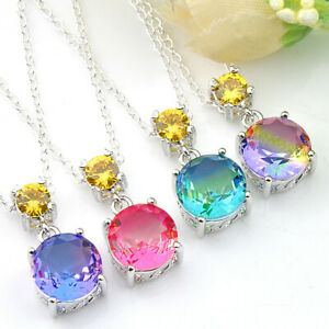 Faceted Bi-Colored Tourmaline Gemstone Silver Necklace Pendants Fashion Gift