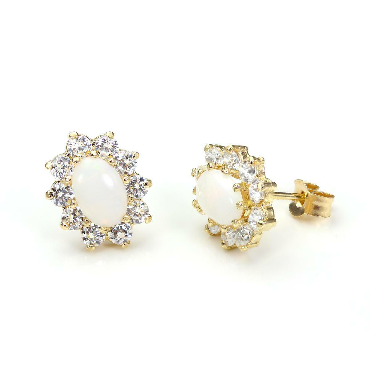 9ct gold & Opal Set Oval Stud Earrings with CZ Crystals