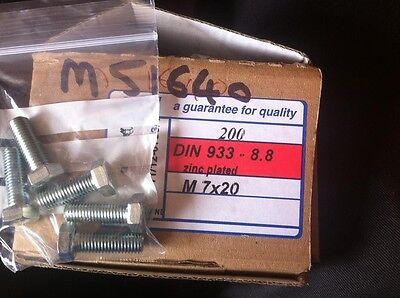 7mm Metric Thread 40mm long x5 bolts M7x40 Bolts Zinc Plated