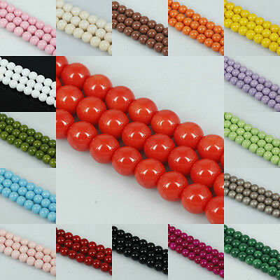 Fashion! Multi-colors Round  Pearl Glass Spacer Loose Beads in 4mm/6mm/8mm