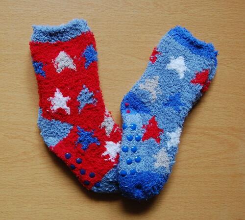 2 PRS BOYS COSY SOCKS ANTI SLIP//SKID GRIPPERS 0-0 0-2.5 3-5.5 BLUE NAVY BLUE RED