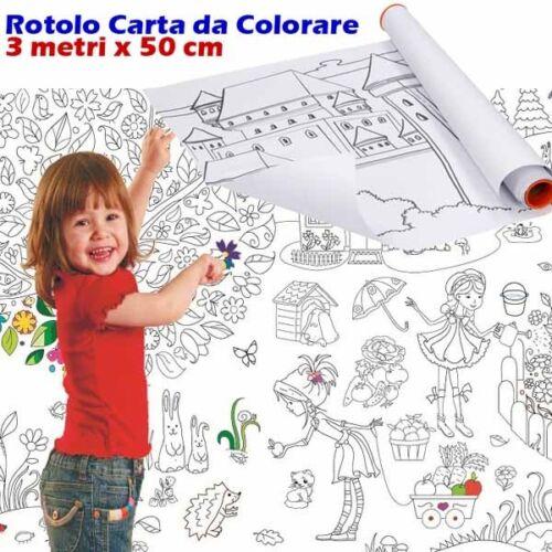 Rullo Rotolo Bobina Spola Disegno da Colorare Lunghezza 3metri x 50cm Eddy Toys