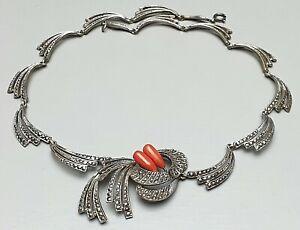 Art-Deco-Design-Collier-800-Silber-1930-echte-Korallen-amp-Markasiten-Herst-034-HF-034