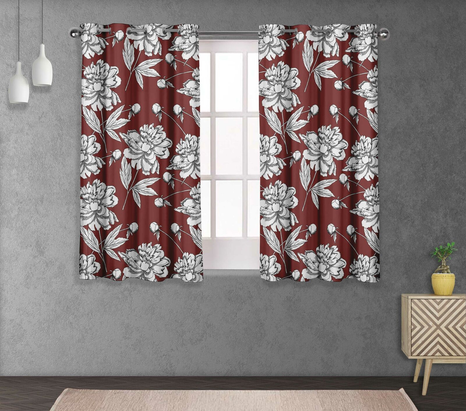 S4sassy Leaves & Carnation Double Panel Window Treatment Curtain -FL-15A